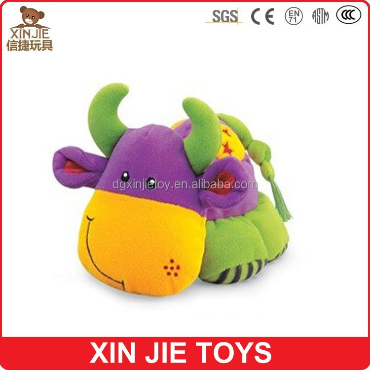 custom cute plush muscial and talking animal toy for baby