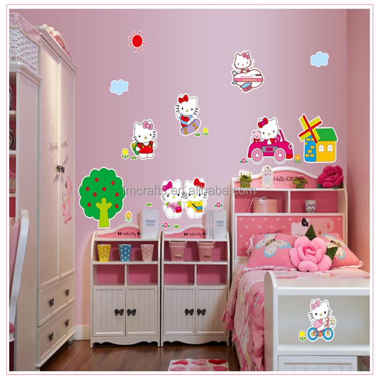 Cat hello kitty cartoon children s room wall stickers happy paradise