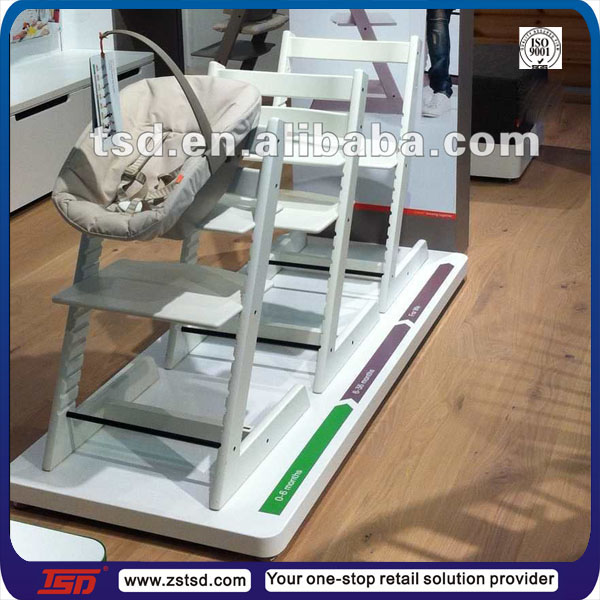 TSD-W1301 Custom high quality mdf wooden baby seat display stand,baby products display fixture,baby shop display