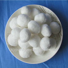 white globular ellipticity 25-50mm diameter filter media fiber ball for water treatment