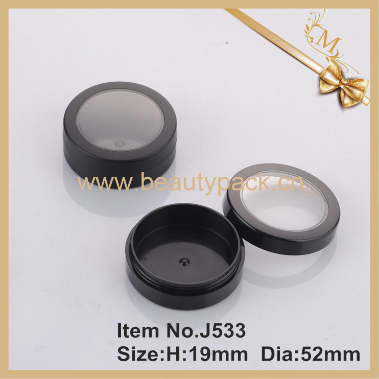 cosmetic empty black powder jar