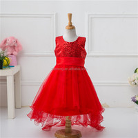 Popular Red Short Front Back Long Dress Frock Suits for Woman Girls