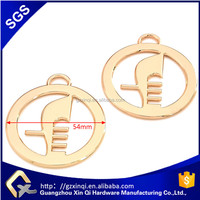 Light gold color Round plate metal logo tag handbag accessory