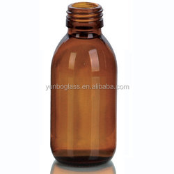 High Quality 125ml Oral liquid Cough Syrup Glass Amber Round Bottle