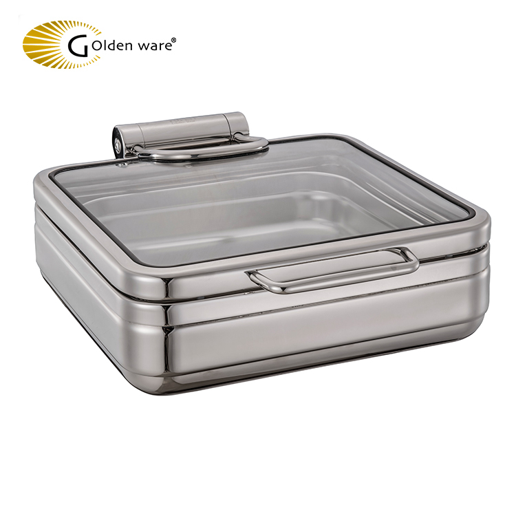 Golden Ware Square Size Hydraulic Chafing Dish glass butter dish with Toughened Glass lid