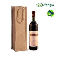 Jute Bag With Window Fabric Wine Bottle Christmas Gift Bag