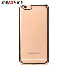 HAISSKY Factory Professional Gold Plated Soft TPU Mobile Phone Case For iPhone 6 6s Back Case Cover