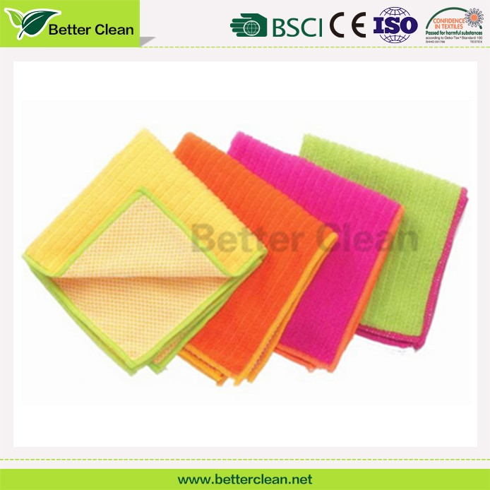 For household kitchen dish plate wash towel microfiber mesh cleaning cloth