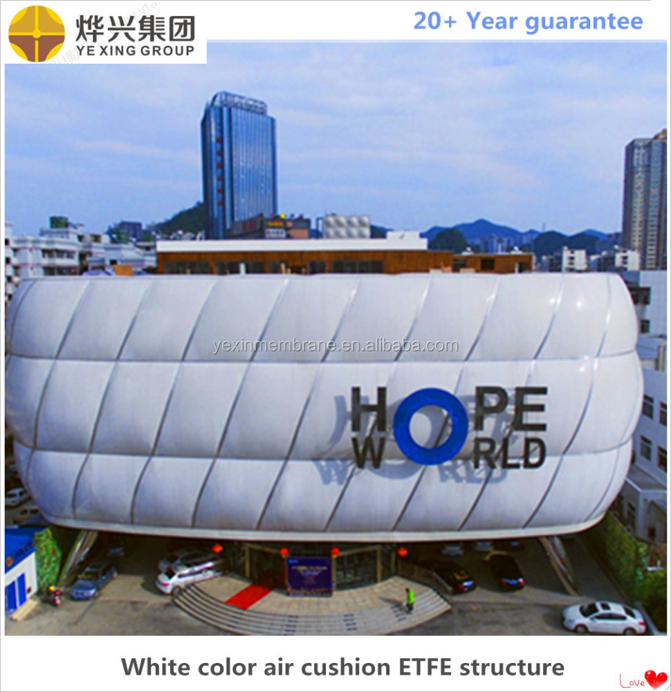 Architecture ETFE membrane structure etfe air cushion curtain with steelstructure and LED