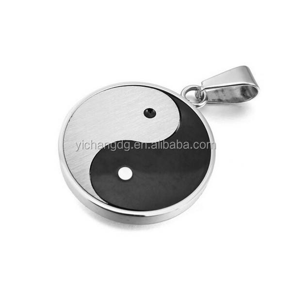Men's Stainless Steel Pendant Necklace Silver Black Yin Yang Polished