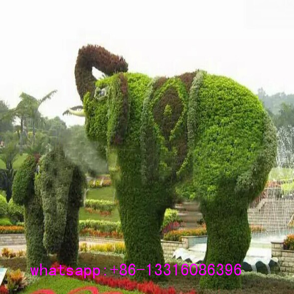 LXY072403 manufacturer high quality realistic fake animal topiary ornamental artificial elephant grass animal