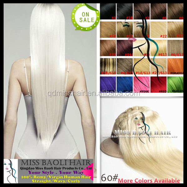 Double Weft 2016 Best Selling Wholesale Factory Price 100% Remy Human Hair Pure White Hair Extensions