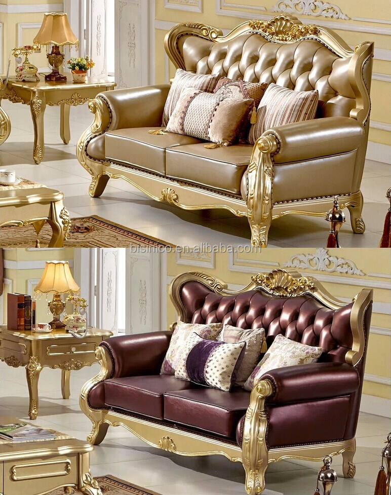 European Style Leather Sofa Set For Living Room Luxury And