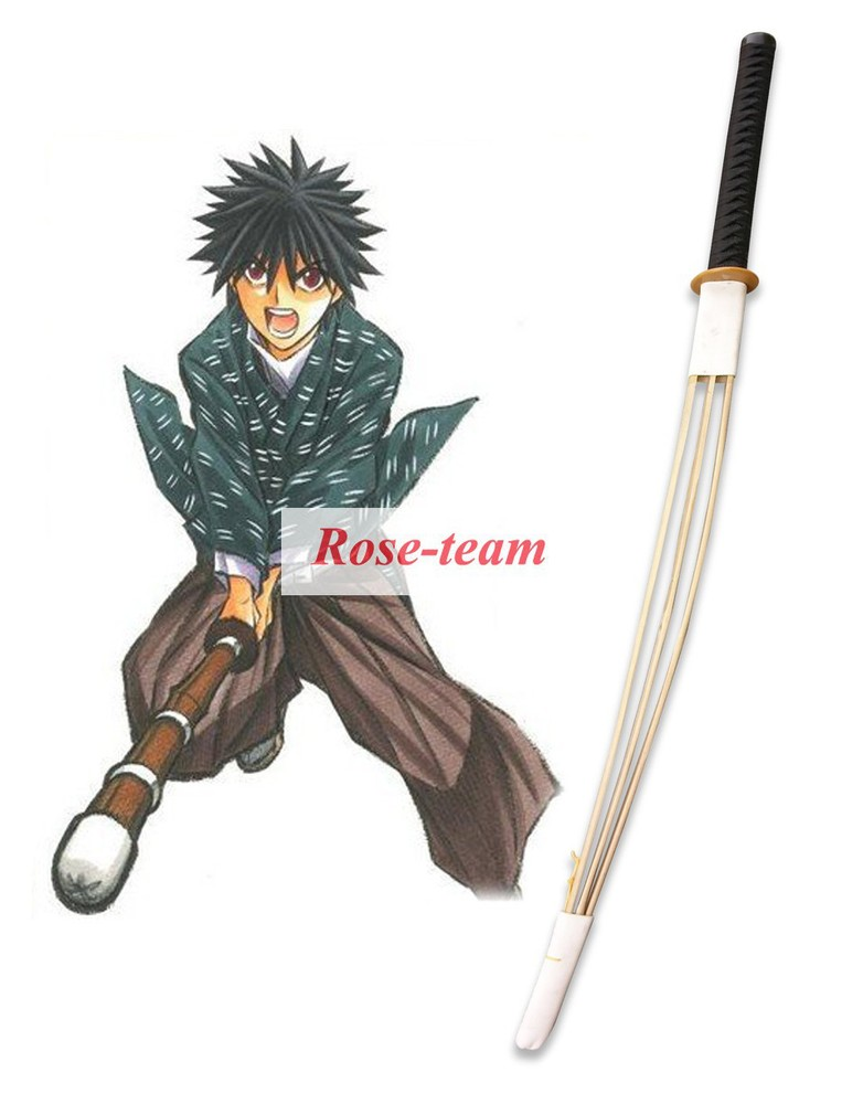 Rose-team Fantasia Anime Cosplay Lolita Made Rurouni Kenshin Myoujin Yahiko Shinai Cosplay Weapons