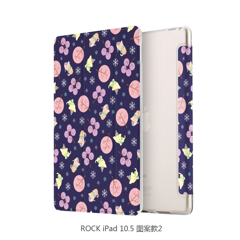 Leather Flip Wallet Case For ipad 10.5 inch Rock Colorful Flower Pattern Tablet Case MT-6316