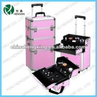 pink snake shin rolling makeup case with wide trays