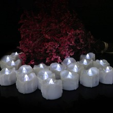 12pcs Cool White Flickering Timing Function Flameless LED Tea Lights Candles with Timer(6 hrs on 18 hrs Off)