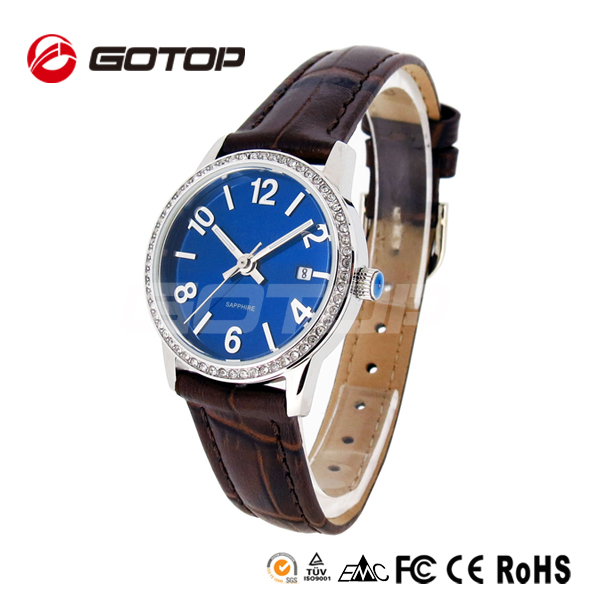 Alibaba express high class leather strap watch diamond mens wrist watch