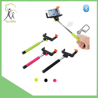 2015 topsell stainless steel extendable handheld wireless monopod bluetooth selfie stick for cellphone and camera