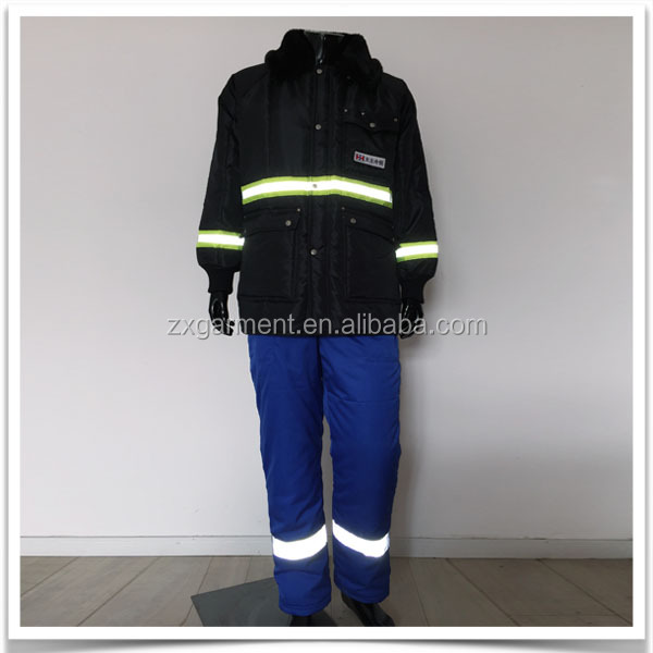 Reflective stripe uniform for freezer staff