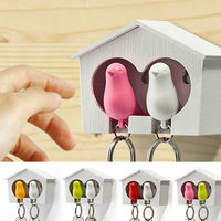 Home shaped double color bird wholesale key ring chain