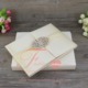 Foil printing Ivory Silk Wedding Invitation Boxes With Brooch