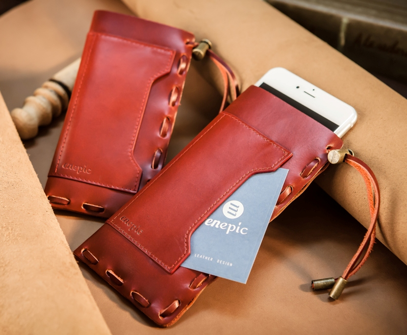 Handmade multi function genuine Leather handbag for cell phone and card holder