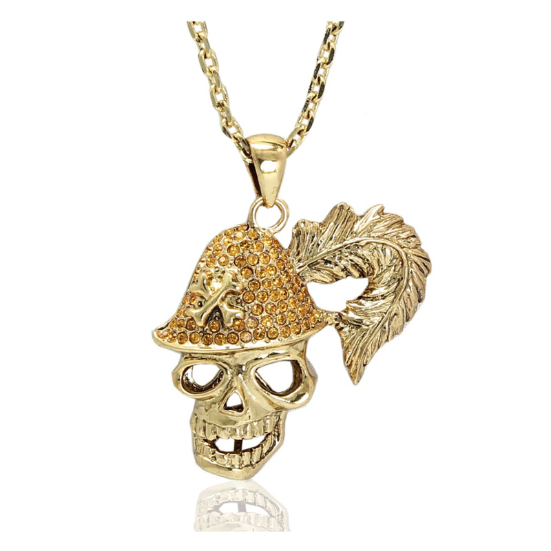 Kingman gothic style skull pendant gold chain necklace