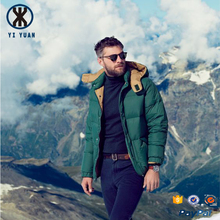 New China factory high quality fashion green nylon shell 90% outdoor ski down jacket for winters men
