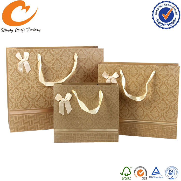 Personality logo printing luxury golden printing wedding door gift paper bag