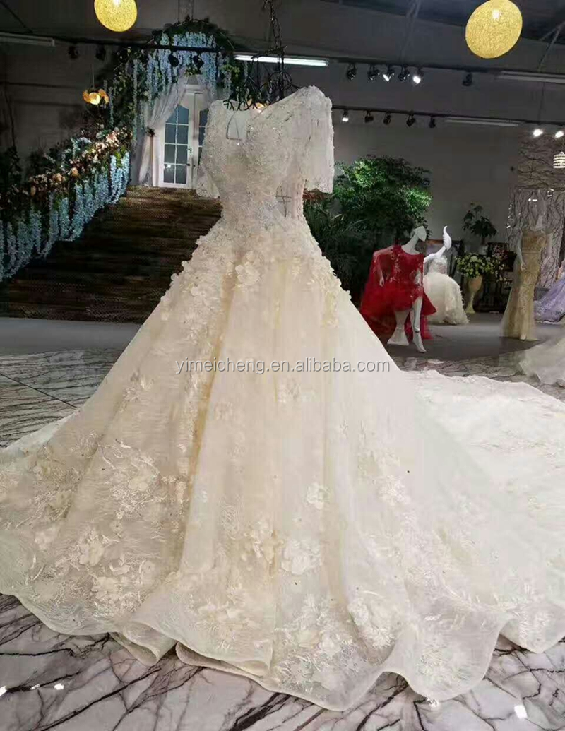 White short sleeve handmade appliqued High-end customize bridal long ball gown