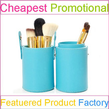 Color Shine Cylinder Makeup Brush Holder Case with Makeup Brushes Cheap Price and Free Sample