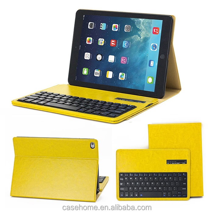 2017 high garde crazy horse grain wireless bluetooth keyboard leather table case for new iPad Air 12 pro 9.7'