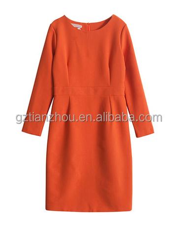 High Fashion Party Dress Solid Dress Long Sleeve Orange Sheath Midi Dress