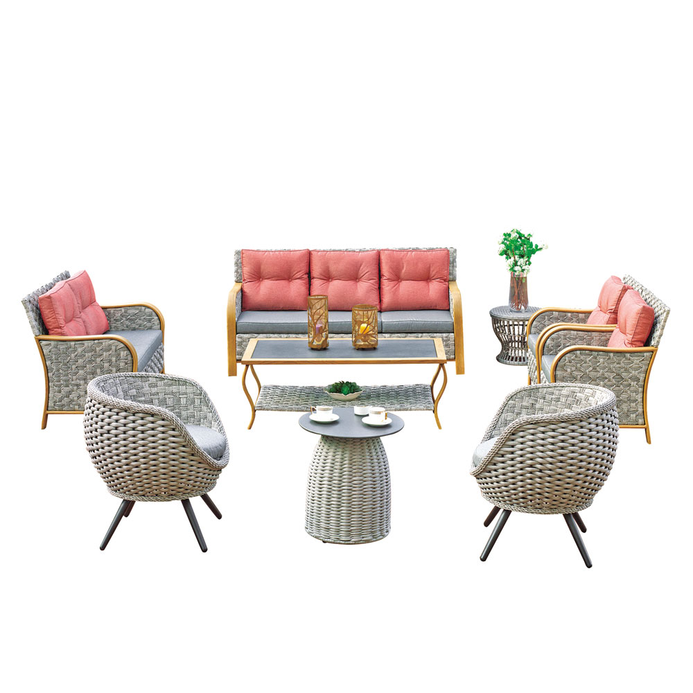 shipping rates from china to usa taizhou Colorful flat wicker 4 set indoor/outdoor living room rattan/wicker sofa set