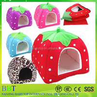 Pet dog cat nest puppy warm bed soft house cushion pad kennel basket strawberry nest