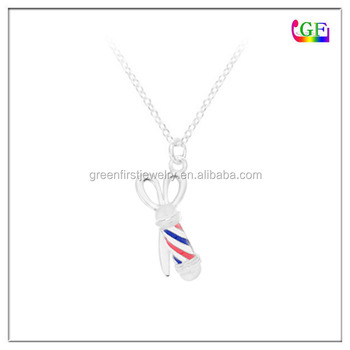 BARBER shop pole stripes hairdresser pendant Metal Necklace