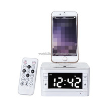 Universal Remote Control Docking Charger Station Wireless Speaker with Alarm Clock