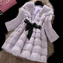 2016 new fashion long pattern rabbit fur coat/outwear/garment