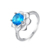 Women ring fashion temperament claw shaped inlaid blue crystal sun flower rings