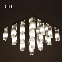 Stainless steel chrome led ceiling lamp modern crystal ceiling light for restaurant