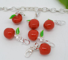 Silver Plated Chain Bracelet Charms Beads Clip On Apple Charms