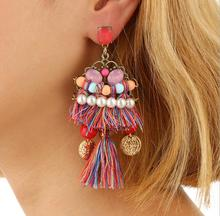 new designs gold jhumka earring fashion jewelry colorful bohemia gemstone crystal beads tassel earrings