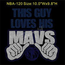 Rhinestone Bling T-Shirt Iron-On This Guy Loves His Mavs Glitter Transfer