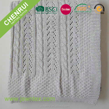 New design grey color weave 100% cotton baby cellular blankets
