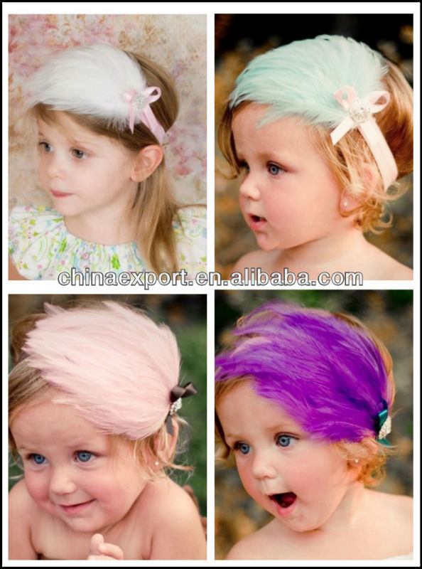 Best gift pink feather fancy handmade flower baby headband wholesale