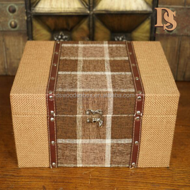 Unique Gift Treasure Chest Crate Fabric Covered Wooden Jewelry Storage Box