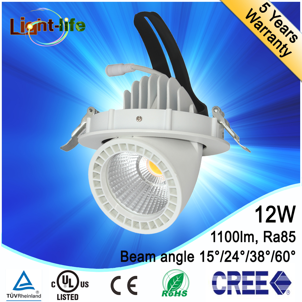 2016 new Adjustable high CRI dimmable round 12w cob led trunk light