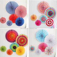 High Quality Beautiful Colorful Pinwheel Design Paper Fan Flower Wedding Party Baby Shower Decoration