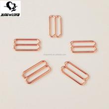 Underwear accessories 18mm swimwear metal buckle Rose Gold zinc alloy bra strap adjuster sliders